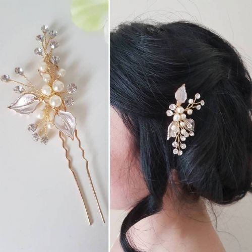 Iva Gold Blush Hair Pin